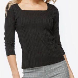 2/$39 NWT Ricki's Black 3/4 Sleeve Square Neck Top